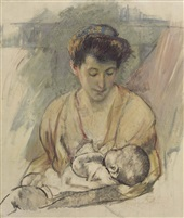 """Mother Rose Looking Down at her Sleeping Baby"" by Mary Cassat"