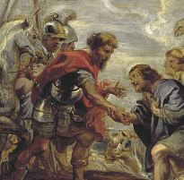 Reconciliation of Jacob and Esau, by Peter Paul Rubens, detail