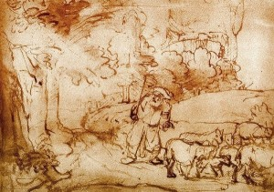 Moses at the Burning Bush by Rembrandt van Rijn