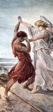 Jacob Wrestling with an Angel, by Gustave Dore, detail
