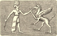 Beil fights the dragon on a Babylonian cylinder seal