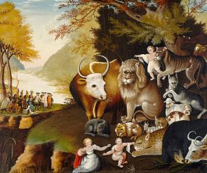 The Peaceable Kingdom by Edward Hicks, 1826 version (William Penn's peace treaty in background)