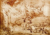 Moses at the Burning Bush by Rembrandt