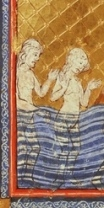 detail, Golden Haggadah, c.1420 Spain