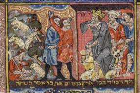 Rylands Haggadah, 14th century Spain. Left: livestock pestilence. Right: Shechin.
