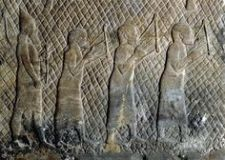 Prisoners playing lyres from Sennacherib's palace, Nineveh, circa 700 B.C.E.