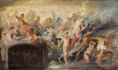 The Council of Gods, sketch by Peter Paul Rubens
